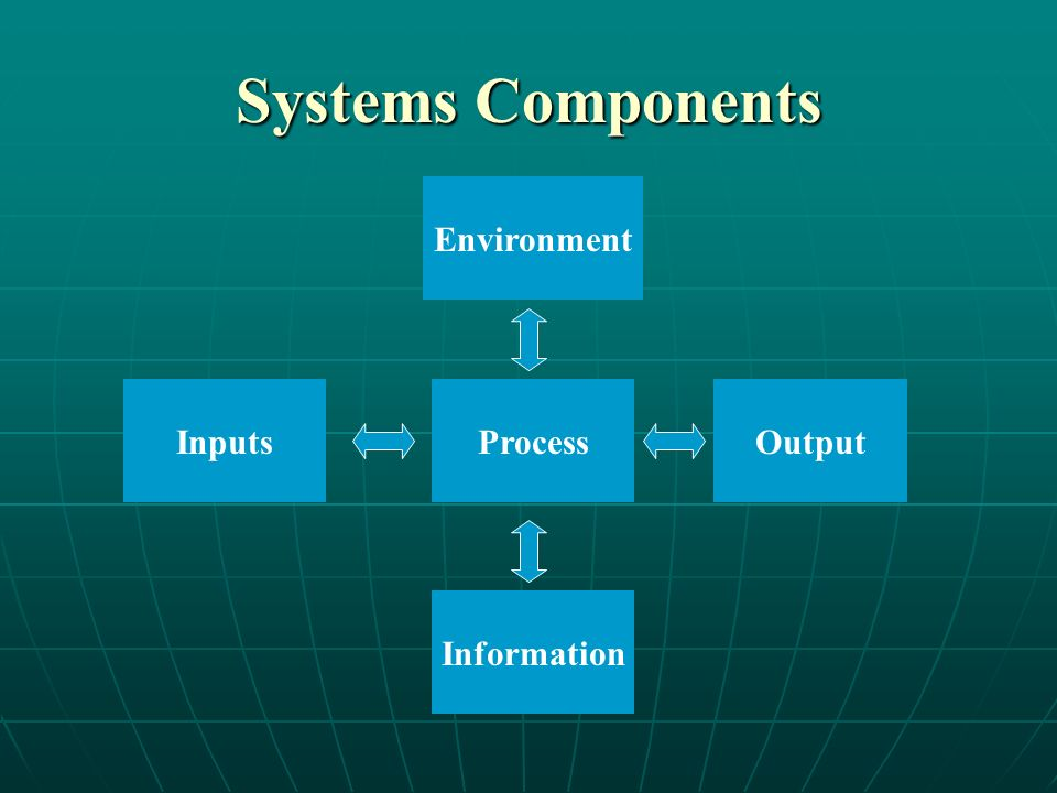 Systems Components Environment InputsProcessOutput Information