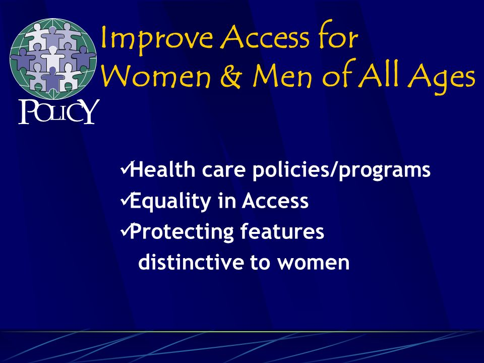 Health care policies/programs Equality in Access Protecting features distinctive to women Improve Access for Women & Men of All Ages P O L C Y I