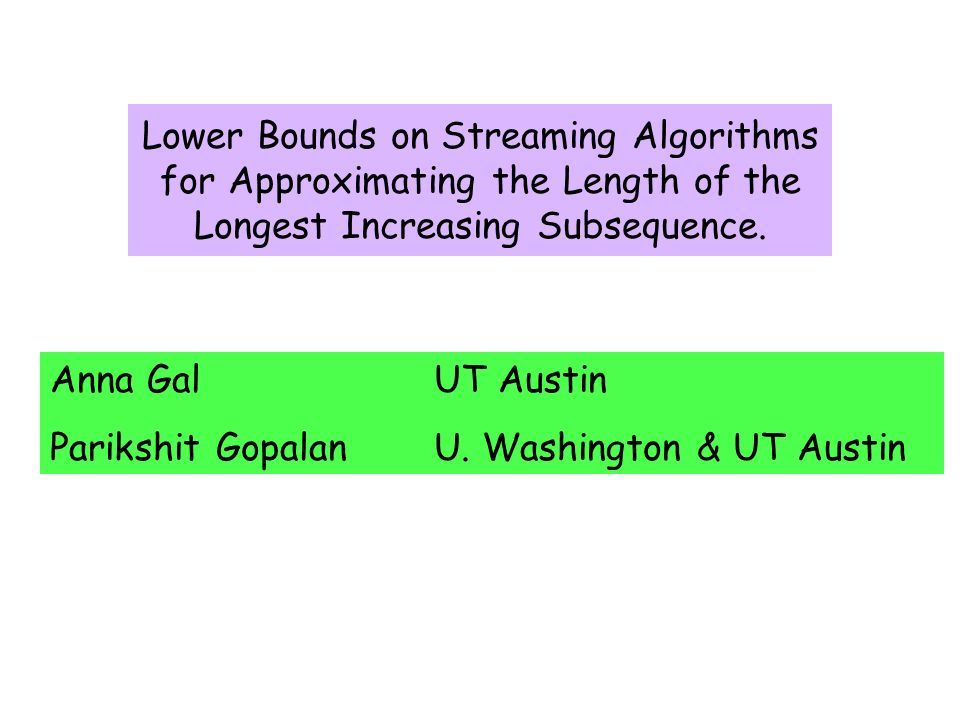 Lower Bounds on Streaming Algorithms for Approximating the Length of the Longest Increasing Subsequence.
