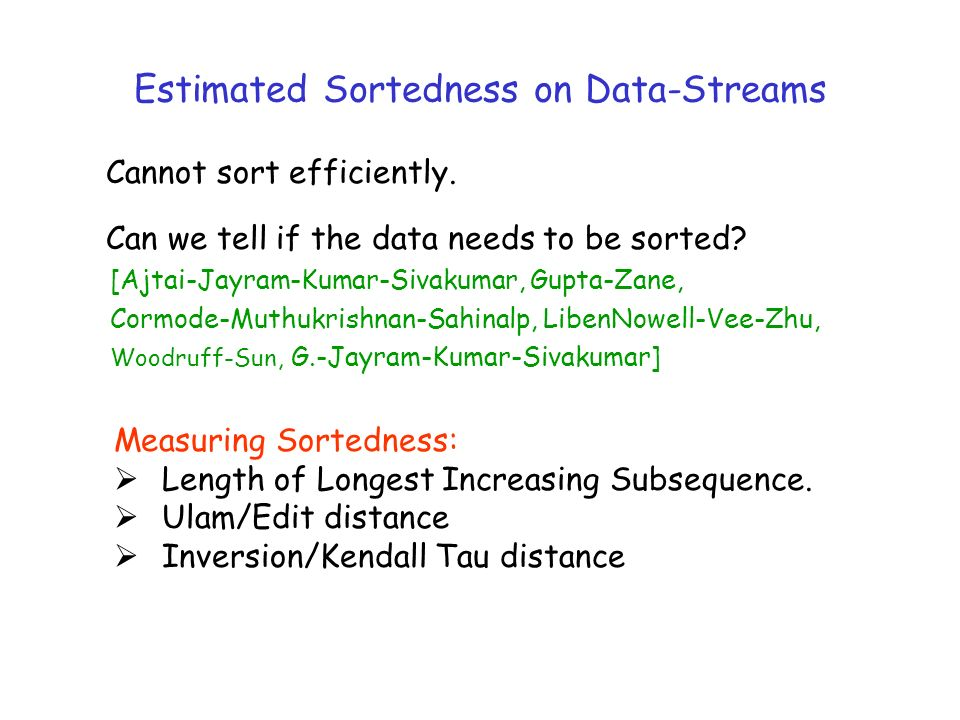 Estimated Sortedness on Data-Streams Cannot sort efficiently.