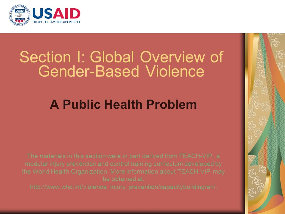 Section I: Global Overview of Gender-Based Violence A Public Health Problem The materials in this section were in part derived from TEACH-VIP, a modul
