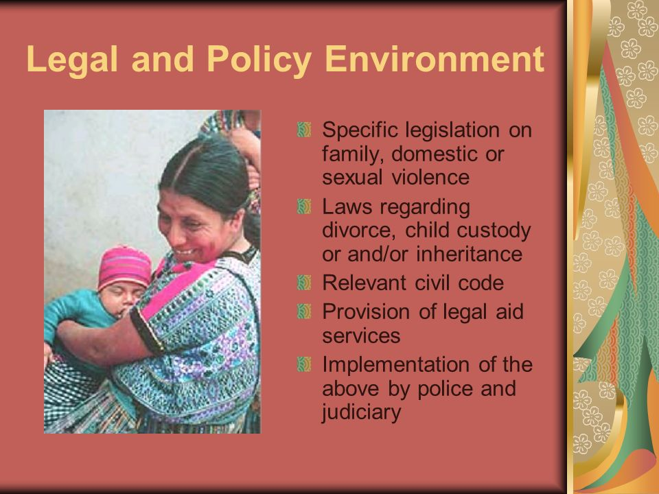 Legal and Policy Environment Specific legislation on family, domestic or sexual violence Laws regarding divorce, child custody or and/or inheritance R
