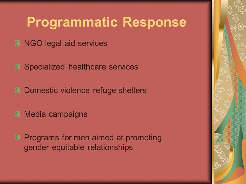 Programmatic Response NGO legal aid services Specialized healthcare services Domestic violence refuge shelters Media campaigns Programs for men aimed