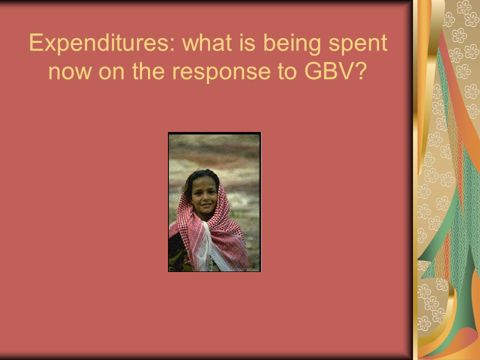 Expenditures: what is being spent now on the response to GBV?