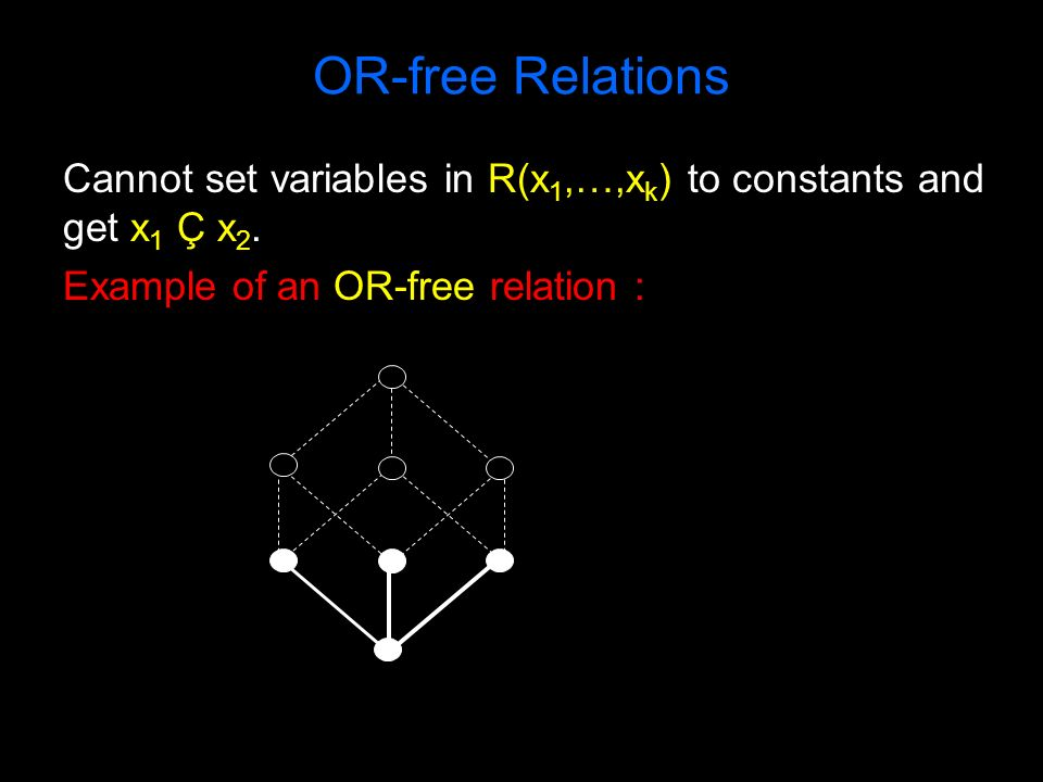 OR-free Relations Cannot set variables in R(x 1,…,x k ) to constants and get x 1 Ç x 2. Example of an OR-free relation :