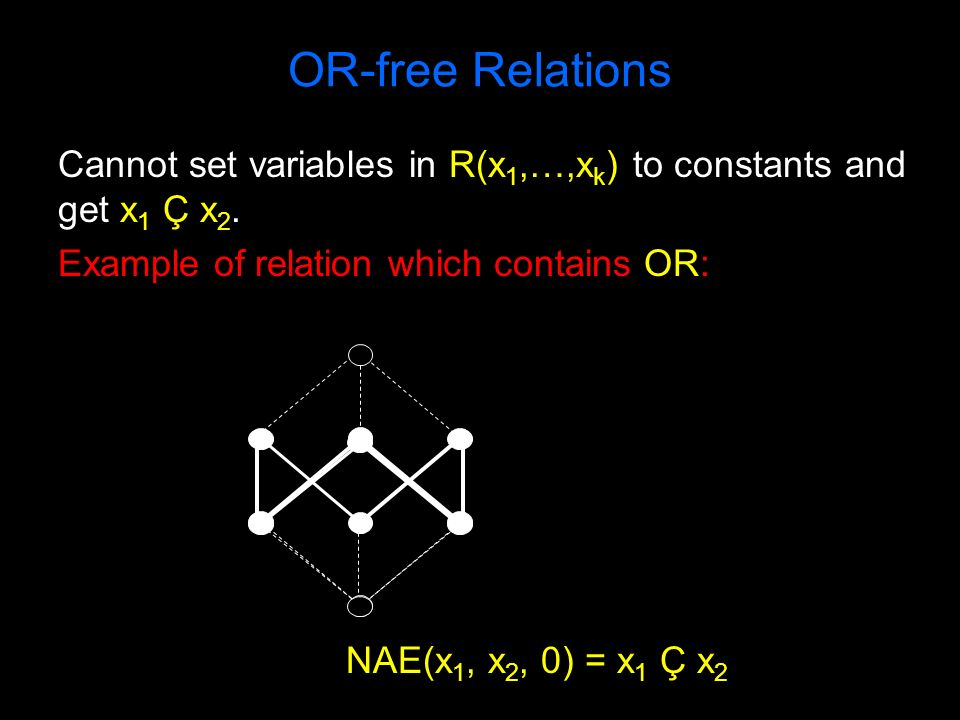 OR-free Relations Cannot set variables in R(x 1,…,x k ) to constants and get x 1 Ç x 2. Example of relation which contains OR: NAE(x 1, x 2, 0) = x 1