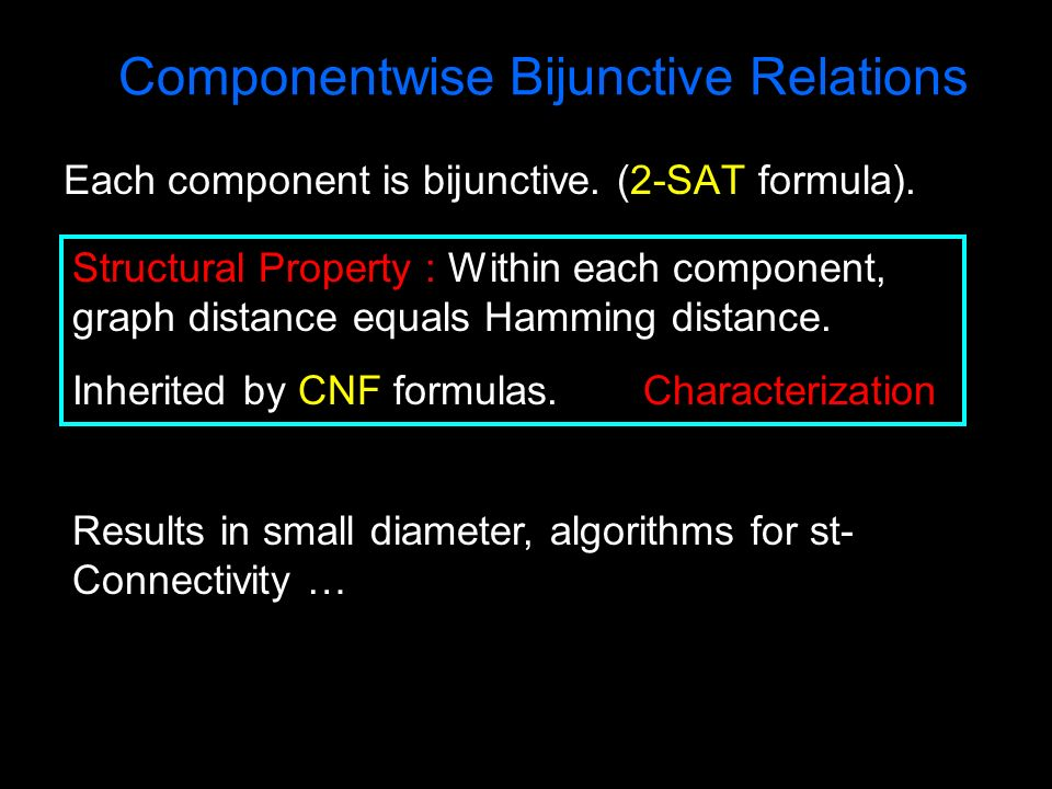 Each component is bijunctive. (2-SAT formula). Componentwise Bijunctive Relations Structural Property : Within each component, graph distance equals H