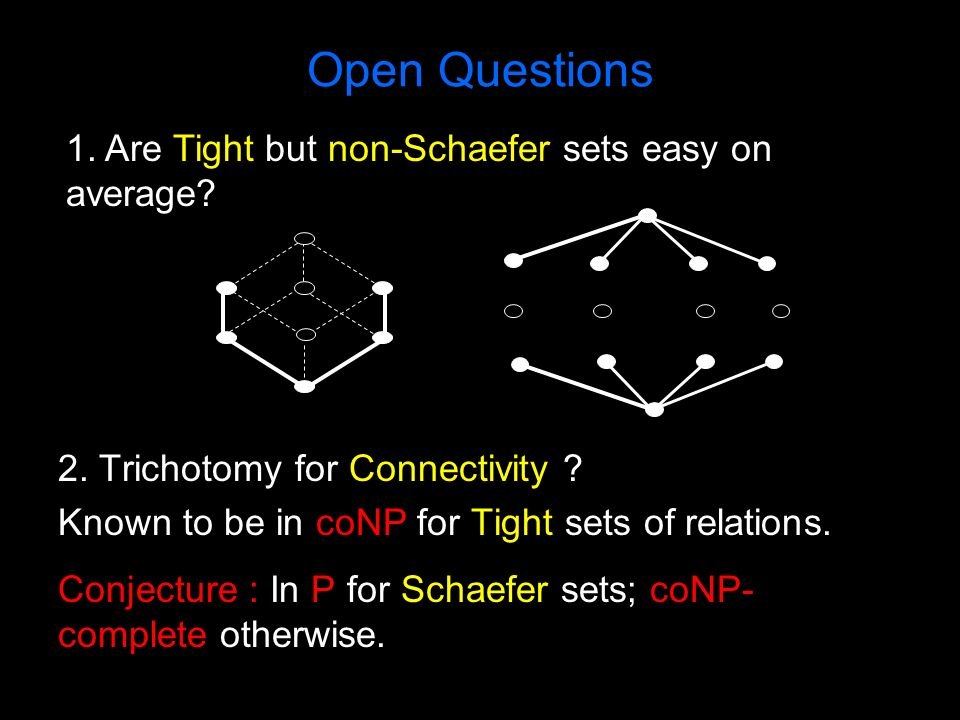 Open Questions 2. Trichotomy for Connectivity ? Known to be in coNP for Tight sets of relations. Conjecture : In P for Schaefer sets; coNP- complete o