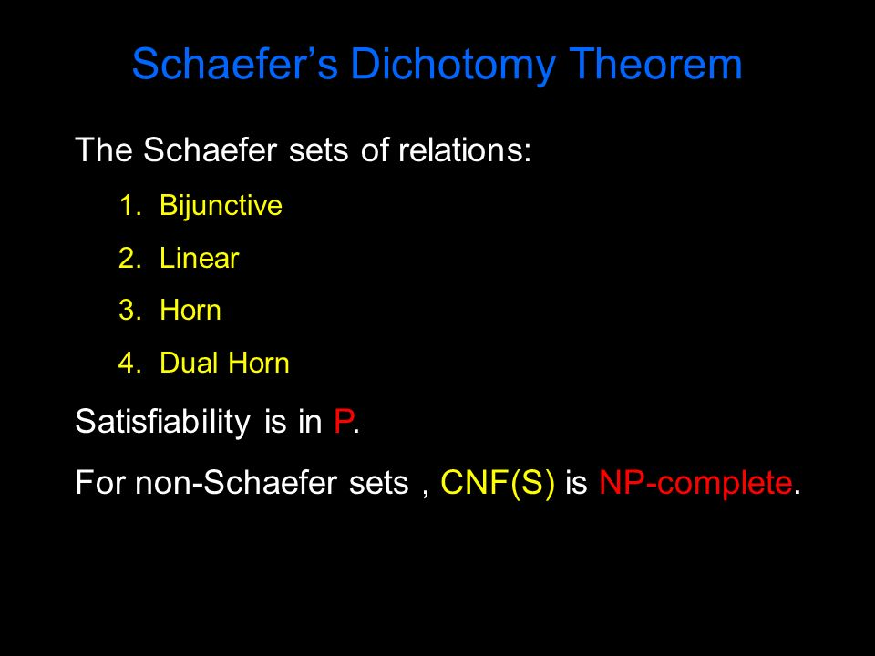 Schaefers Dichotomy Theorem The Schaefer sets of relations: 1. Bijunctive 2. Linear 3. Horn 4. Dual Horn Satisfiability is in P. For non-Schaefer sets