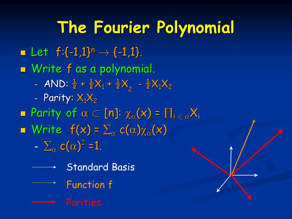 The Fourier Polynomial Let f:{-1,1} n . {-1,1}. Let f:{-1,1} n .