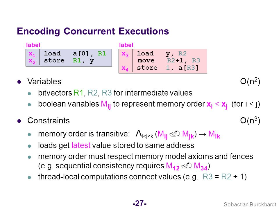 Sebastian Burckhardt -26- What code? Data type implementations optimized for concurrent execution (Concurrency libraries) What machines? Common shared