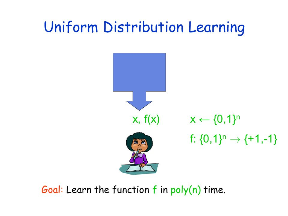 Uniform Distribution Learning x, f(x)x {0,1} n f: {0,1} n ! {+1,-1} Goal: Learn the function f in poly(n) time.