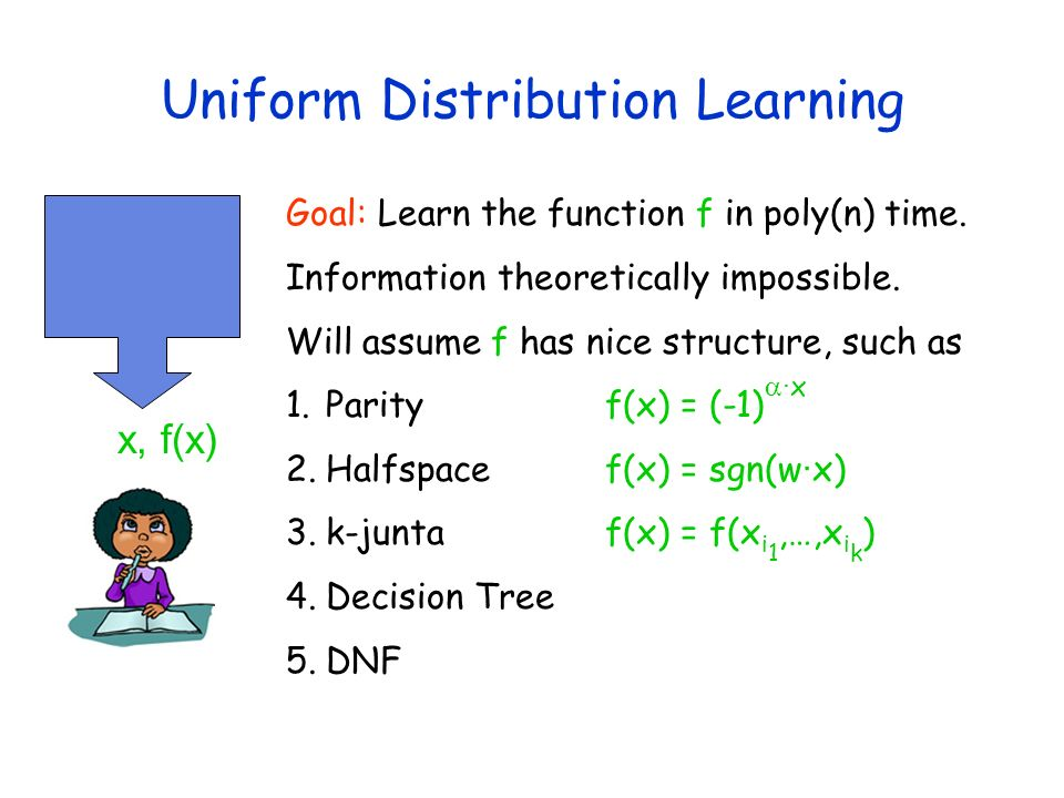Uniform Distribution Learning x, f(x) Goal: Learn the function f in poly(n) time. Information theoretically impossible. Will assume f has nice structu