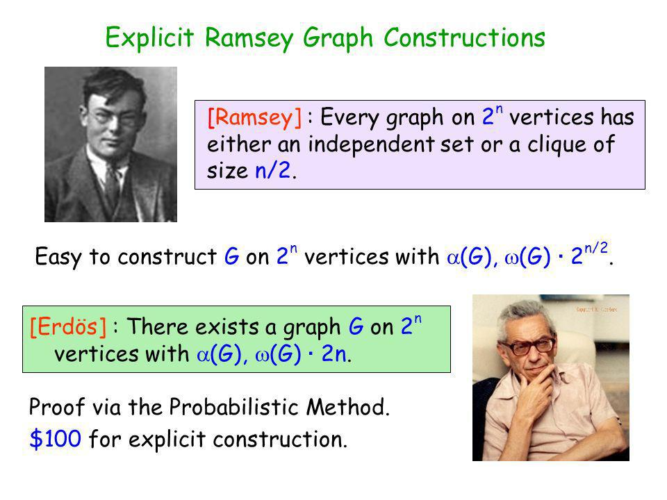 Explicit Ramsey Graph Constructions [Erdös] : There exists a graph G on 2 n vertices with (G), (G) · 2n.