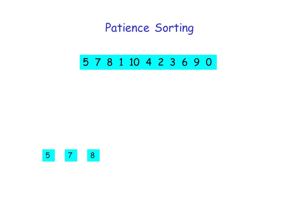 Patience Sorting 5 7 8 1 10 4 2 3 6 9 578 5 7 8 1 10 4 2 3 6 9 0