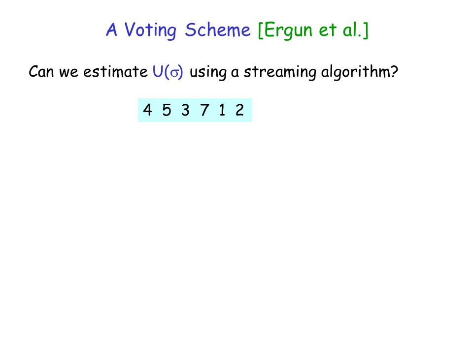 A Voting Scheme [Ergun et al.] Can we estimate U( ) using a streaming algorithm? 4 5 3 7 1 2