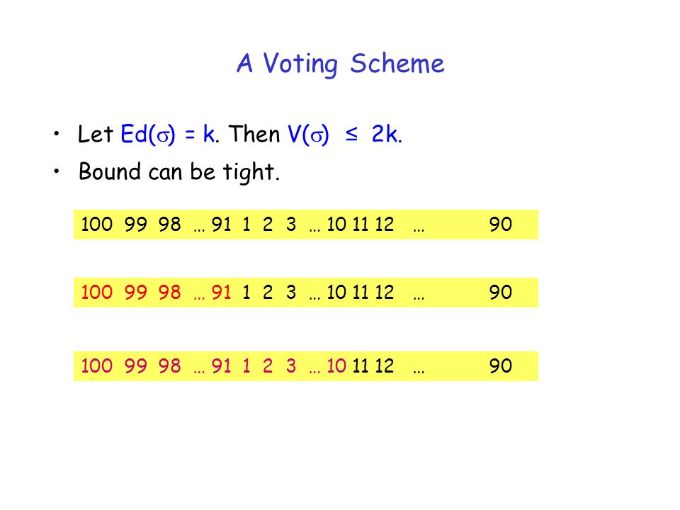 A Voting Scheme Let Ed( ) = k. Then V( ) 2k. Bound can be tight. 100 99 98 … 91 1 2 3 … 10 11 12 … 90