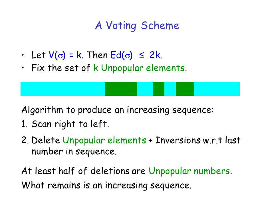 A Voting Scheme Let V( ) = k. Then Ed( ) 2k. Fix the set of k Unpopular elements.