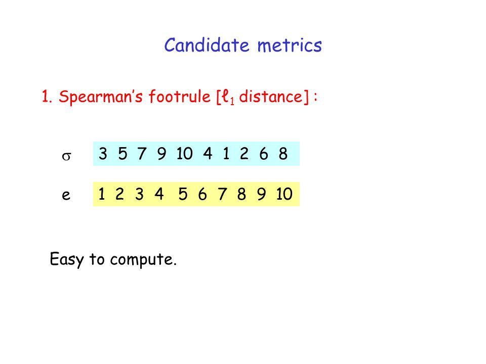 Candidate metrics 1. Spearmans footrule [ 1 distance] : 3 5 7 9 10 4 1 2 6 8 1 2 3 4 5 6 7 8 9 10 e Easy to compute.