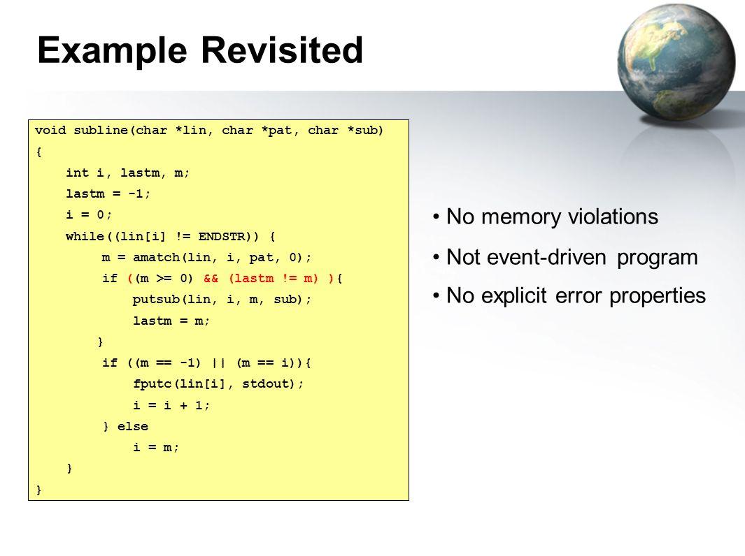 void subline(char *lin, char *pat, char *sub) { int i, lastm, m; lastm = -1; i = 0; while((lin[i] != ENDSTR)) { m = amatch(lin, i, pat, 0); if (m > 0)