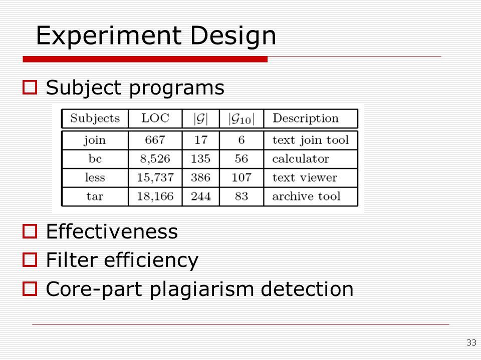 33 Experiment Design Subject programs Effectiveness Filter efficiency Core-part plagiarism detection