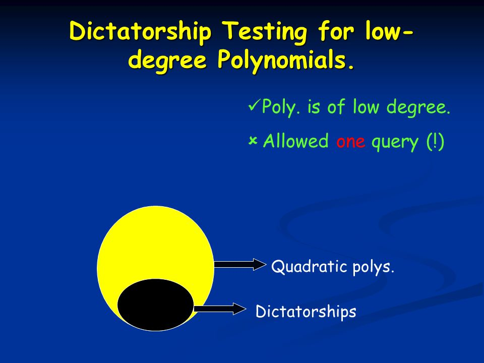 Dictatorship Testing for low- degree Polynomials. Dictatorships Quadratic polys. Poly. is of low degree. Allowed one query (!)