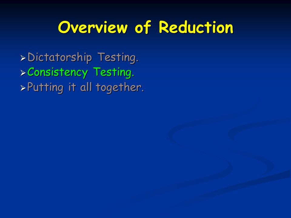 Overview of Reduction Dictatorship Testing. Dictatorship Testing.