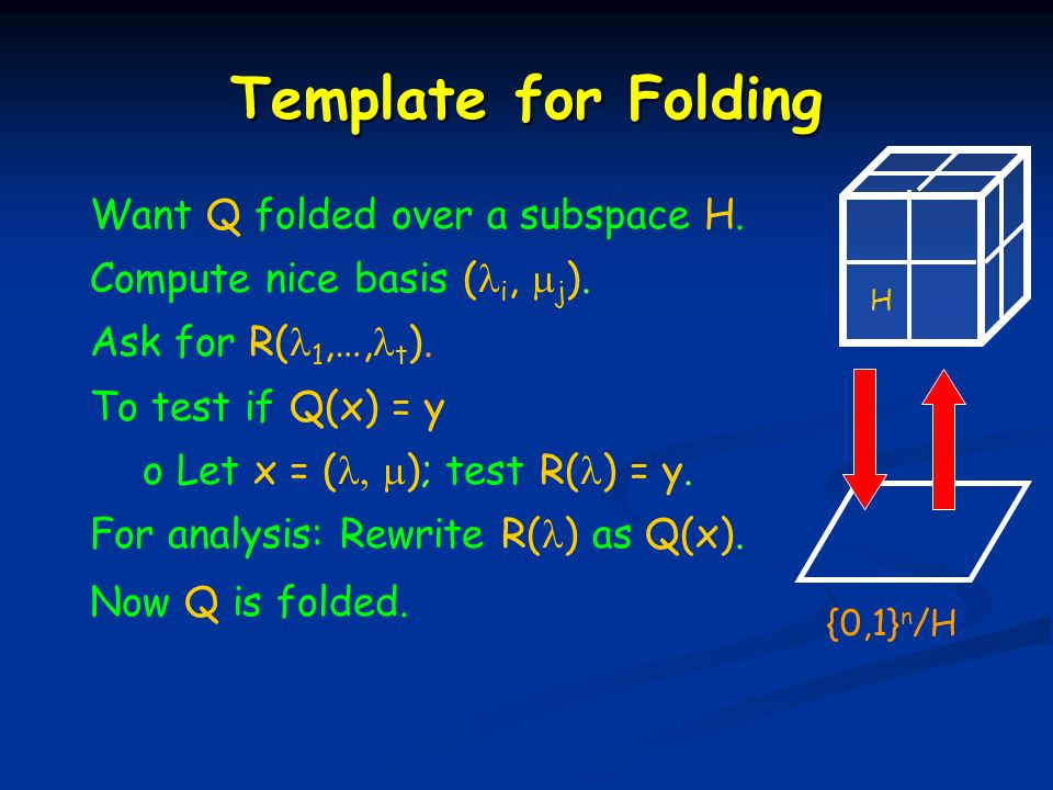 Template for Folding Want Q folded over a subspace H.