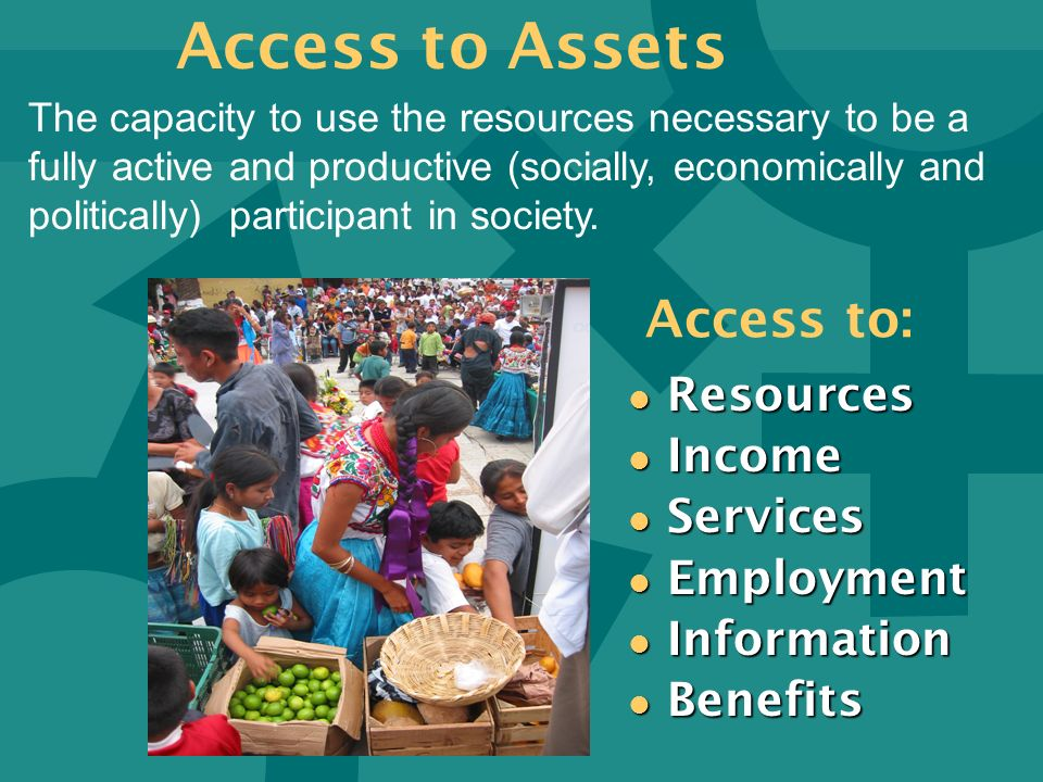 Access to: l Resources l Income l Services l Employment l Information l Benefits The capacity to use the resources necessary to be a fully active and