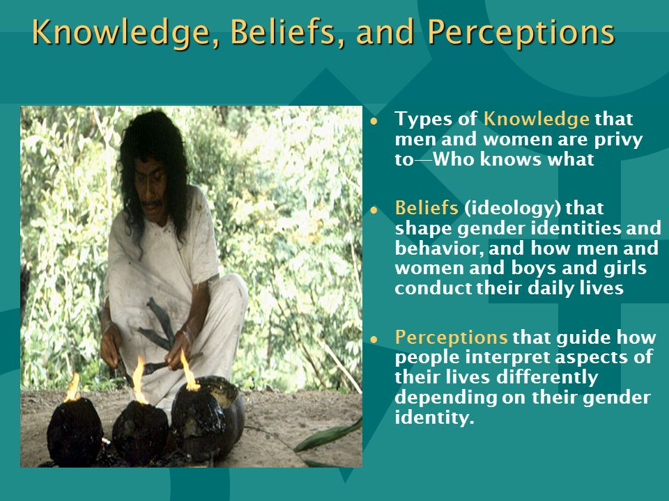Knowledge, Beliefs, and Perceptions l l Types of Knowledge that men and women are privy toWho knows what l l Beliefs (ideology) that shape gender iden