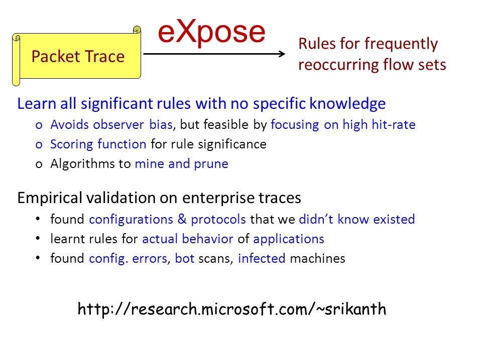 Packet Trace Rules for frequently reoccurring flow sets Learn all significant rules with no specific knowledge oAvoids observer bias, but feasible by