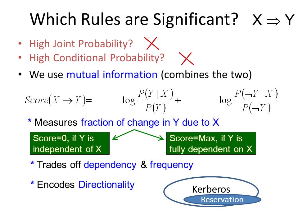 * Measures fraction of change in Y due to X High Joint Probability? High Conditional Probability? We use mutual information (combines the two) * Trade