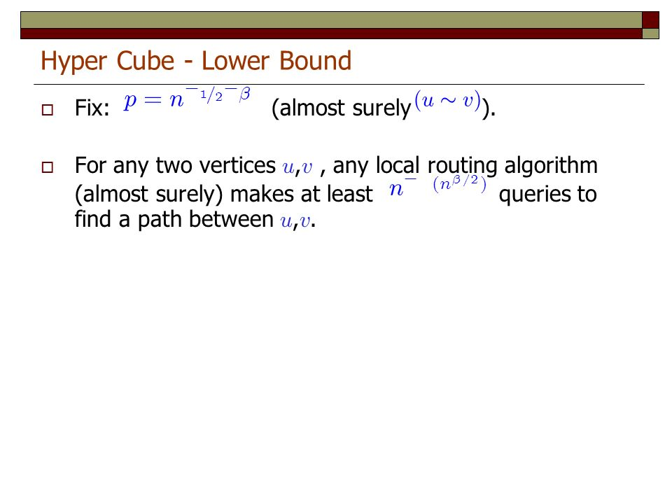 Hyper Cube - Lower Bound Fix: (almost surely ).