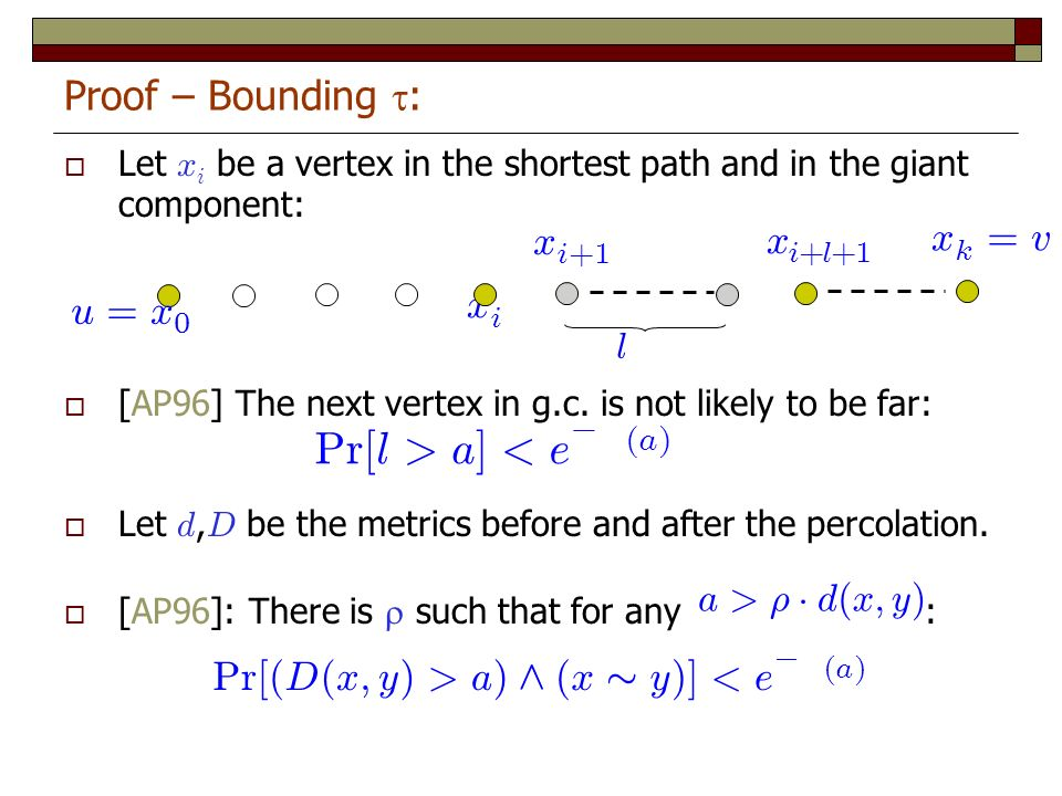 Let x i be a vertex in the shortest path and in the giant component: [AP96] The next vertex in g.c. is not likely to be far: Let d, D be the metrics b