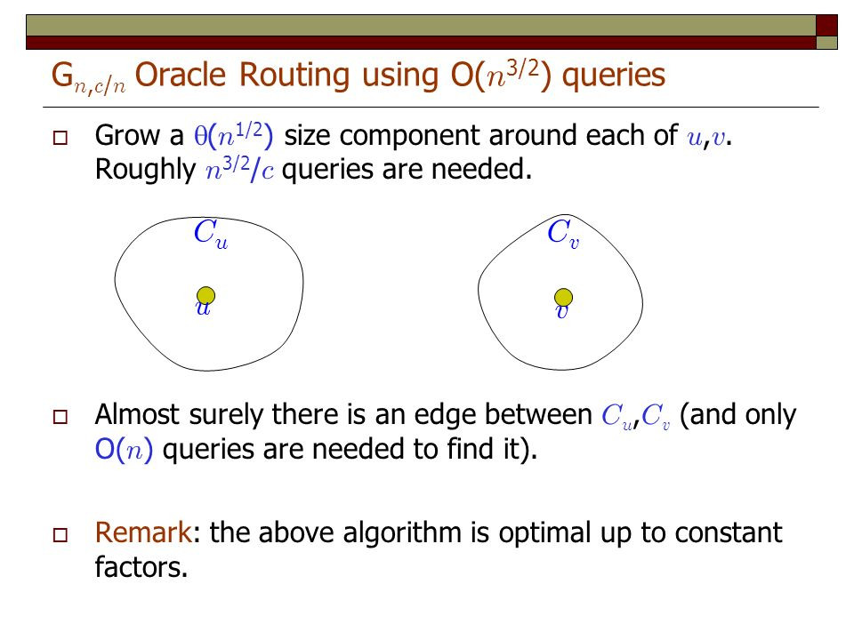 G n, c / n Oracle Routing using O( n 3/2 ) queries Grow a ( n 1/2 ) size component around each of u, v.