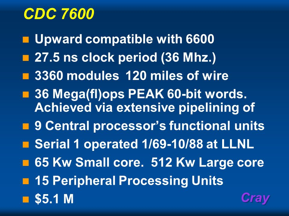 Cray CDC 7600 Upward compatible with 6600 27.5 ns clock period (36 Mhz.) 3360 modules120 miles of wire 36 Mega(fl)ops PEAK 60-bit words. Achieved via