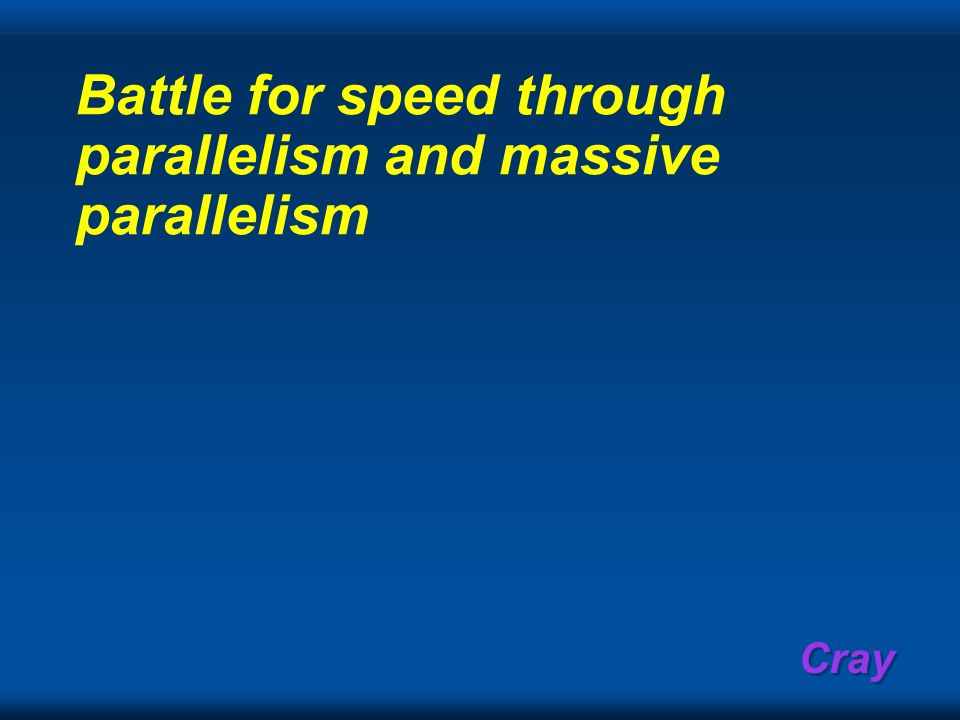 Cray Battle for speed through parallelism and massive parallelism