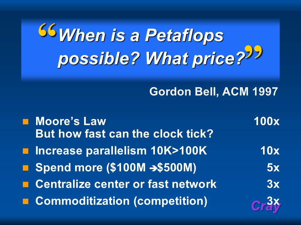 Cray When is a Petaflops possible? What price? Moores Law 100x But how fast can the clock tick? Increase parallelism 10K>100K10x Spend more ($100M $50