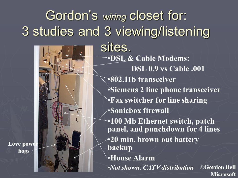 ©Gordon Bell Microsoft Gordons wiring closet for: 3 studies and 3 viewing/listening sites. DSL & Cable Modems: DSL 0.9 vs Cable.001 802.11b transceive