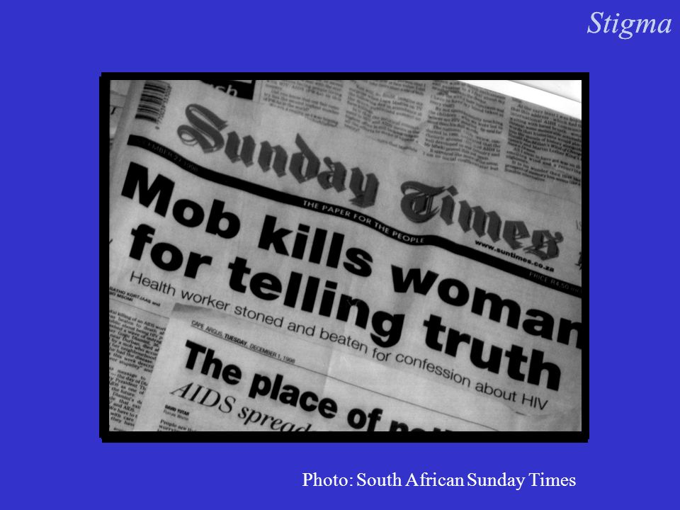 Photo: South African Sunday Times Stigma