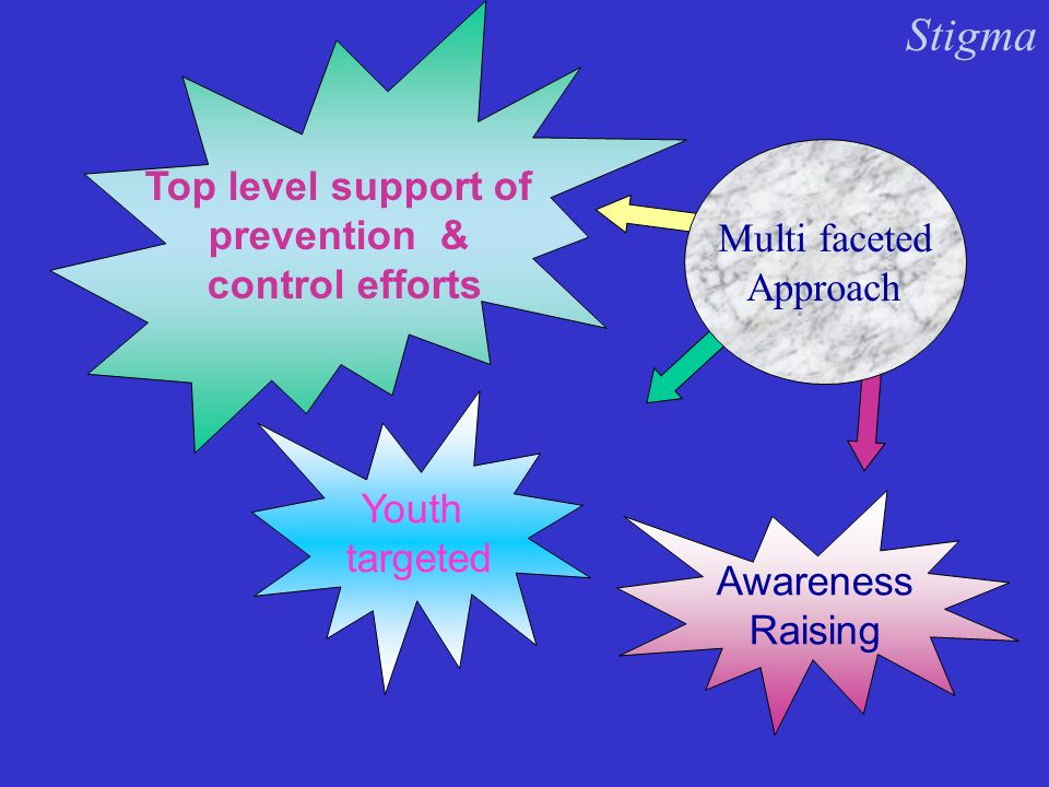 Multi faceted Approach Youth targeted Top level support of prevention & control efforts Awareness Raising