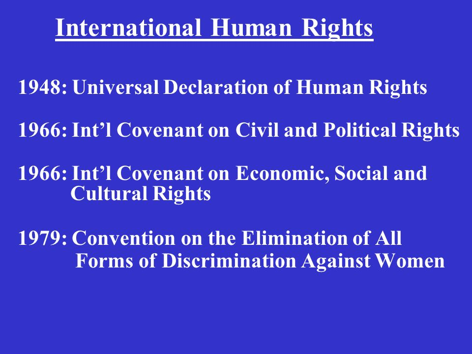 1948: Universal Declaration of Human Rights 1966: Intl Covenant on Civil and Political Rights 1966: Intl Covenant on Economic, Social and Cultural Rights 1979: Convention on the Elimination of All Forms of Discrimination Against Women International Human Rights