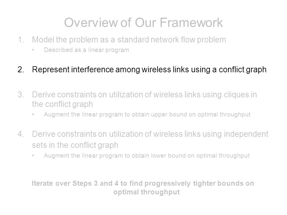 Overview of Our Framework 1.Model the problem as a standard network flow problem Described as a linear program 2.Represent interference among wireless