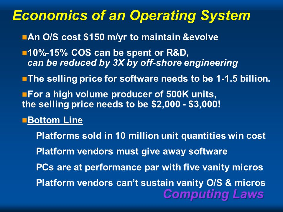 Computing Laws Value of software per $ of product price vs volume/yr specialty Server & Mainframe Workstation PC 1101001K10K100K1M10M 10M 1M 100K 10K 1K 100 10 1