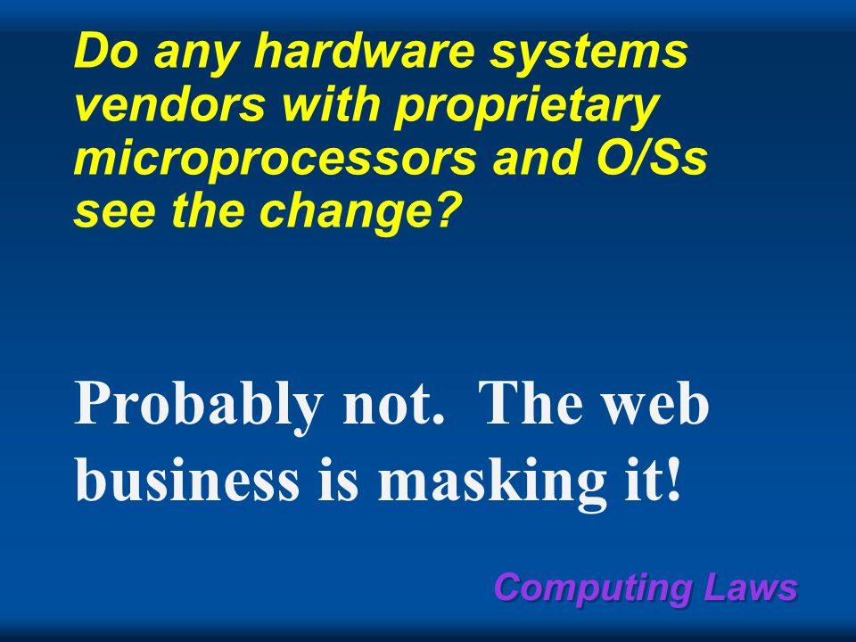 Computing Laws SNAP Systems circa ­ 2000 Local & global data comm world ATM & Ethernet: PC, workstation, & servers Wide-area global ATM network Legacy mainframe & minicomputer servers & terminals Centralized & departmental servers built from PCs scalable computers built from PCs + CAN TC=TV+PC home...