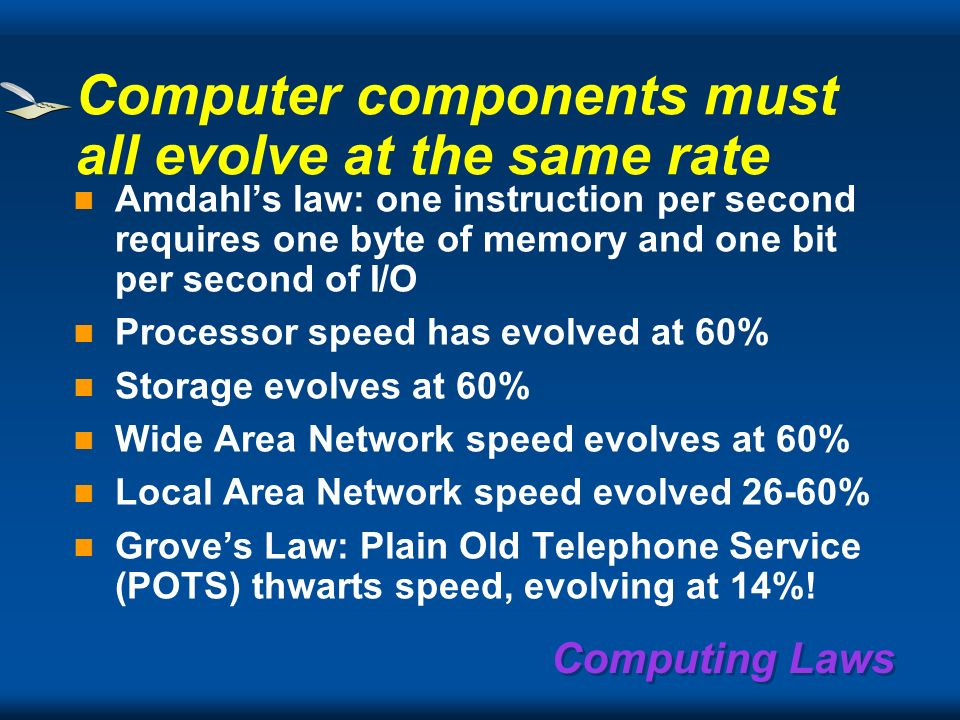 Computing Laws Transistor density doubles every 18 months 60% increase per year – Chip density transistors/die – Micro processor speeds Exponential growth: – The past does not matter – 10x here, 10x there … means REAL change PC costs decline faster than any other platform – Volume and learning curves – PCs are the building bricks of all future systems Moores First Law
