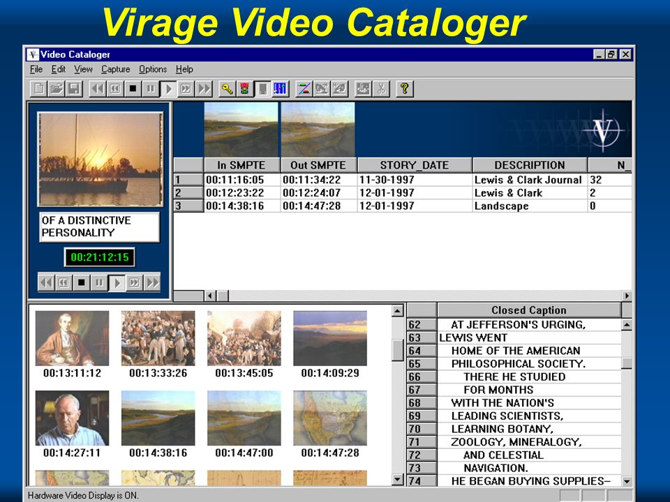 The Tech Virage Video Cataloger