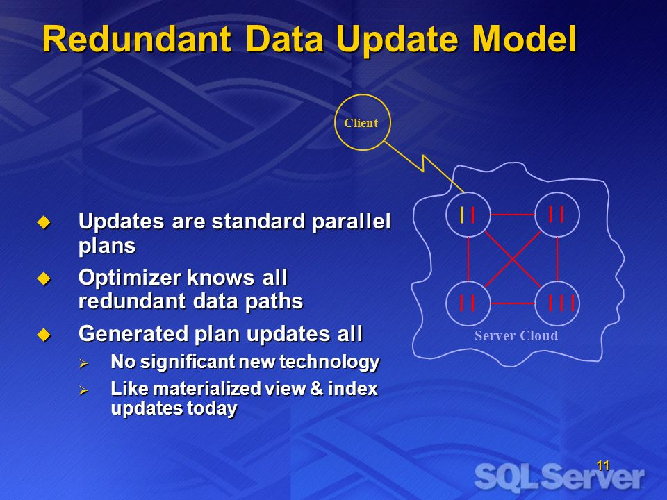 11 Client Redundant Data Update Model Server Cloud Updates are standard parallel plans Updates are standard parallel plans Optimizer knows all redundant data paths Optimizer knows all redundant data paths Generated plan updates all Generated plan updates all No significant new technology No significant new technology Like materialized view & index updates today Like materialized view & index updates today