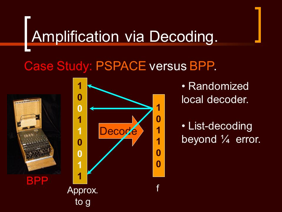 Amplification via Decoding. Case Study: PSPACE versus BPP. 100110011100110011 Decode 101100101100 BPP Randomized local decoder. List-decoding beyond ¼