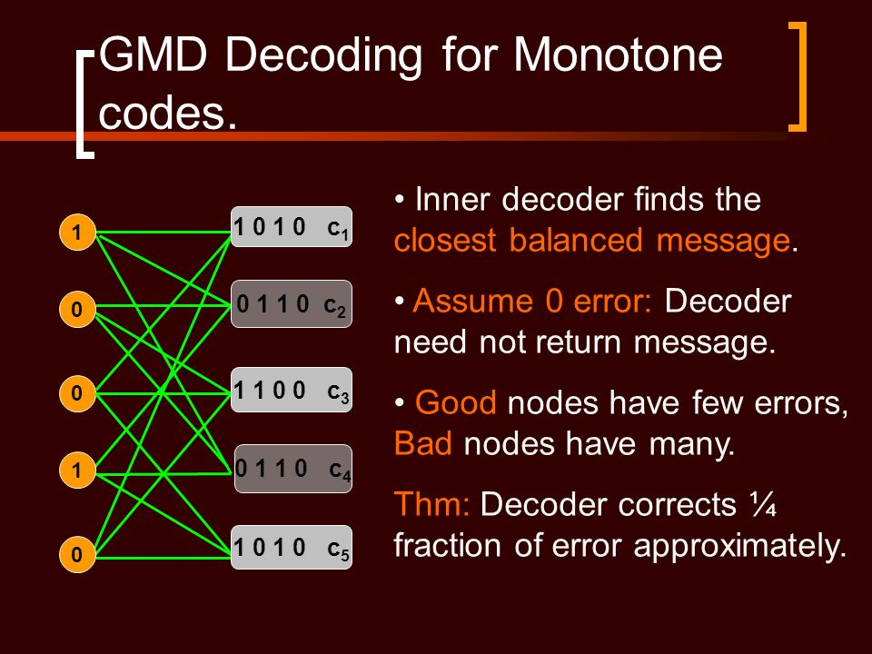 GMD Decoding for Monotone codes. 0 0 1 1 0 1 0 c 1 0 1 1 0 c 2 1 1 0 0 c 3 0 1 1 0 c 4 1 0 1 0 c 5 0 1 Inner decoder finds the closest balanced messag